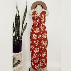 • XHILARATION • maroon floral maxi dress